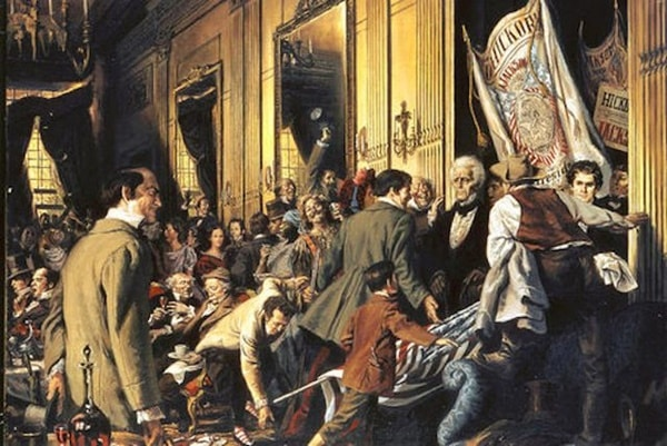 3 epic historical parties - Andrew Jackson's Inauguration Party depicted in this drawing.