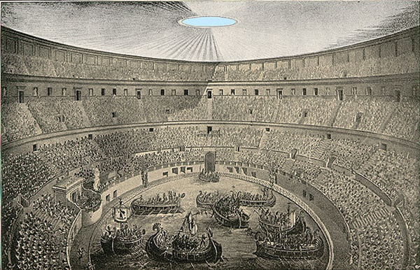 The list of 3 epic historical parties includes the Inauguration of the Colosseum, depicted here.