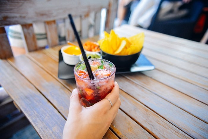 cocktail with chips