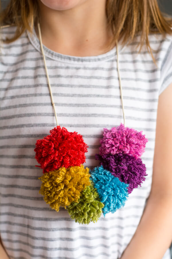 Make a Rainbow Pom Pom Necklace! | this heart of mine