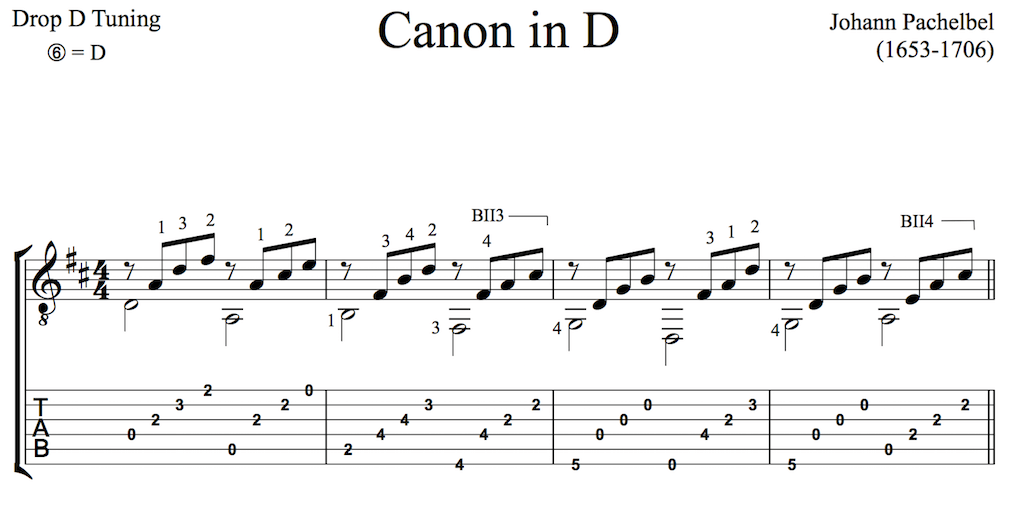 Pachelbel's Canon in D for Guitar (Free PDF)