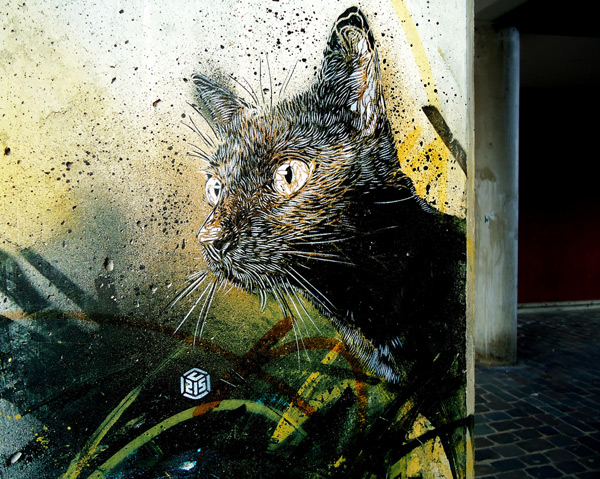 New Stencil Works by Street Artist C215 street art stencils