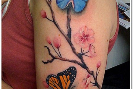 cherry blossom erflies tattoo