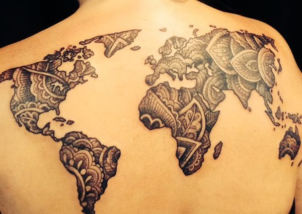 Creative Map Tattoos for the Traveling Type map tattoo designs  4