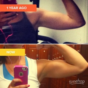 thismomhere showing off her arm muscles, 1 year progress