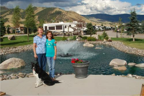 Jane, Sydney and Missy the dog at Mountain Views at Rivers Edge RV Park