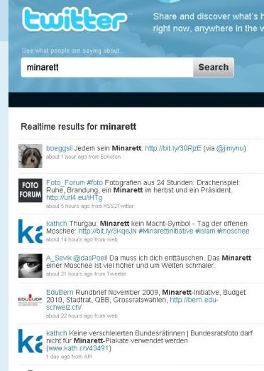 Minarett Initiative auf Twitter