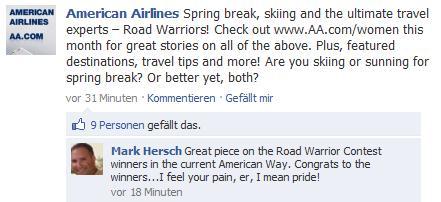 Beispiel Newsfeed-Beitrag von American Airlines