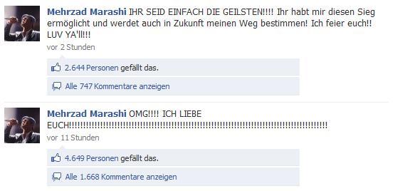 Kommentare auf der Mehrzad Marashi's Fanpage