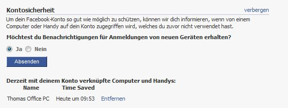 Facebook - Kontosicherheit - Log