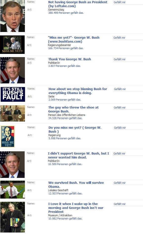 Bush auf Facebook