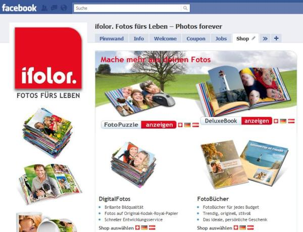 Ifolor Facebook Seite Shop in Deutsch