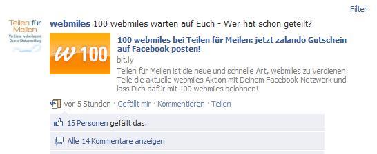 Incentive von webmiles für Facebook Statusupdates (Quelle: facebook.com/webmiles)