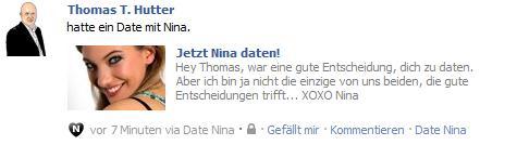 "Pinnwandbeitrag durch die Facebookapplikation ""Date Nina"""