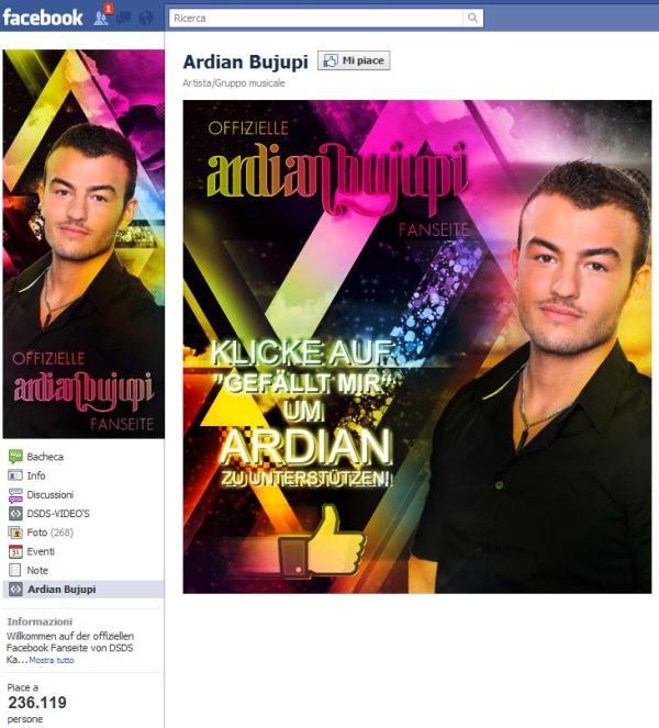 Eine der Ardian Bujupi Facebookseiten