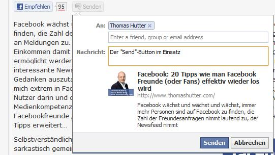 """Der """"Send""""-Button im Einsatz"""