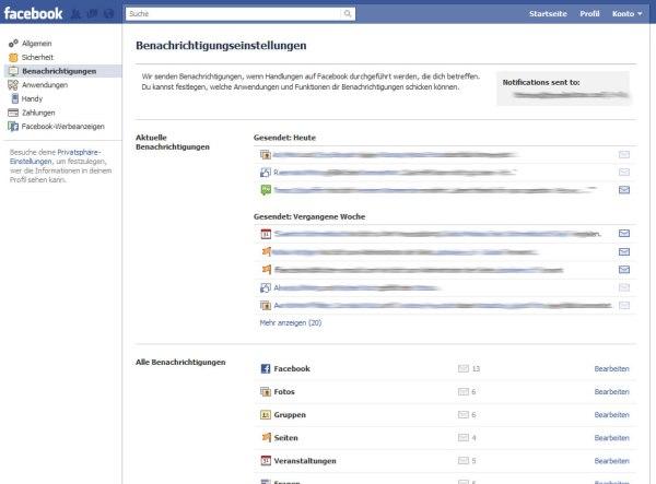 Facebook Kontoeinstellungen: Benachrichtigungen