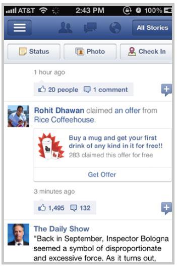 Facebook Offers: Newsstory sichtbar für Freunde auf dem Mobile