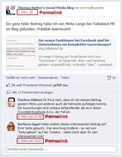 Kommentare auf einer Facebookseite