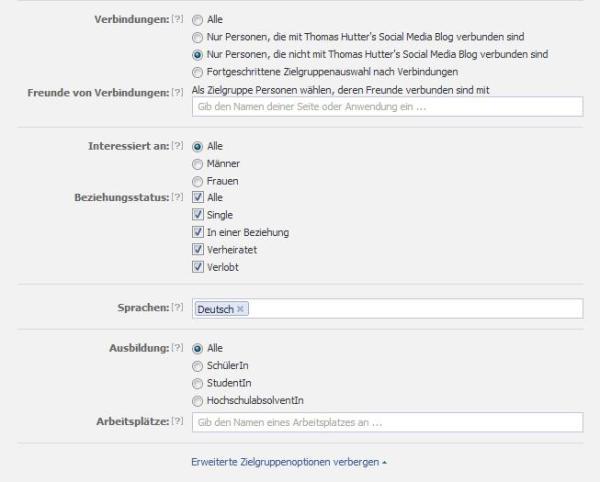 Auswahl der Verbindungen sowie der erweiterten Zielgruppenoptionen im Anzeigenmanager