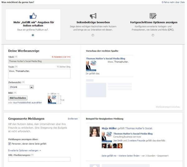 Facebook Ads erstellen - Schritt 2 - Zielauswahl (Ansicht Mehr Gefällt-Mir-Angaben erhalten)