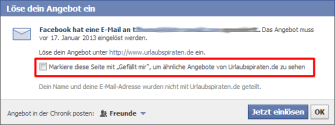 Facebook Offers - erweitere Funktion