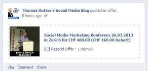 Beispiel Facebook Angebot