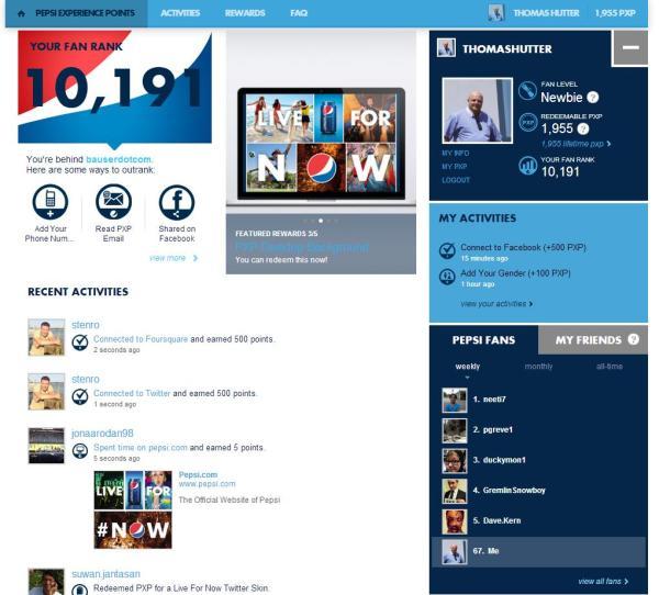 Pepsi Points Aktivitäten und Profilübersicht