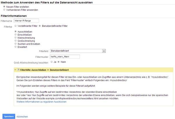 """Variante 3 – Ausschluss über Cookieangaben – Filter """"Benutzerdefiniert"""":"""