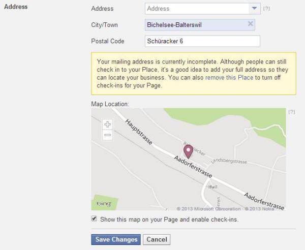 Kartendarstellung und Check-In-Aktivierung in den Seiteneinstellungen von Facebook