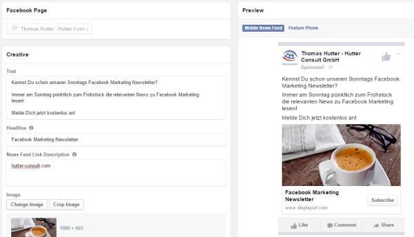 Ads Creative bei Facebook Lead Ads