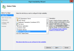Enable Hyper-V Replica Broker role