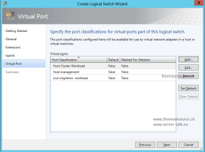 SCVMM Logical Switch Virtual Port Classifications
