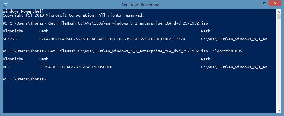 PowerShell Get-FileHash