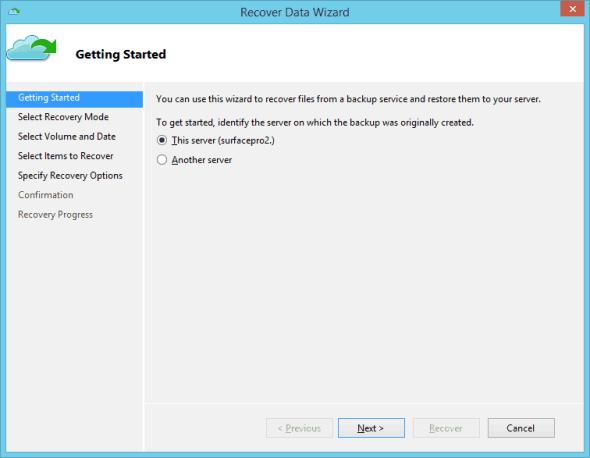 Azure Backup Recover Data