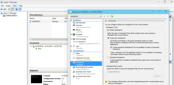 Hyper-V vNext Production CheckPoint