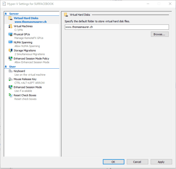 Hyper-V Settings Windows 10 Build 14361