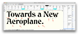 Kerned text annotated