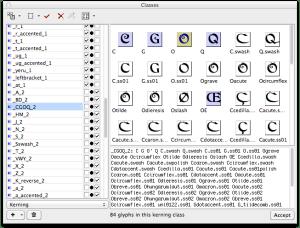 Kerning class definition in FontLab Studio 5.2 (image)