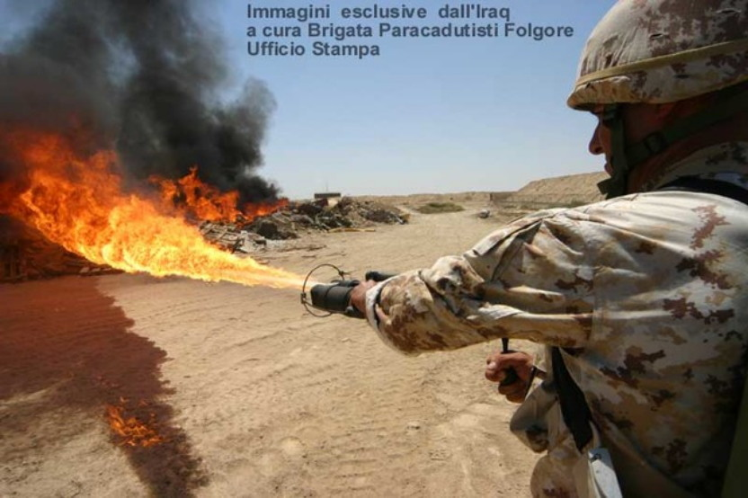 148 b being fired by a man of the folgore parachute brigade in iraq