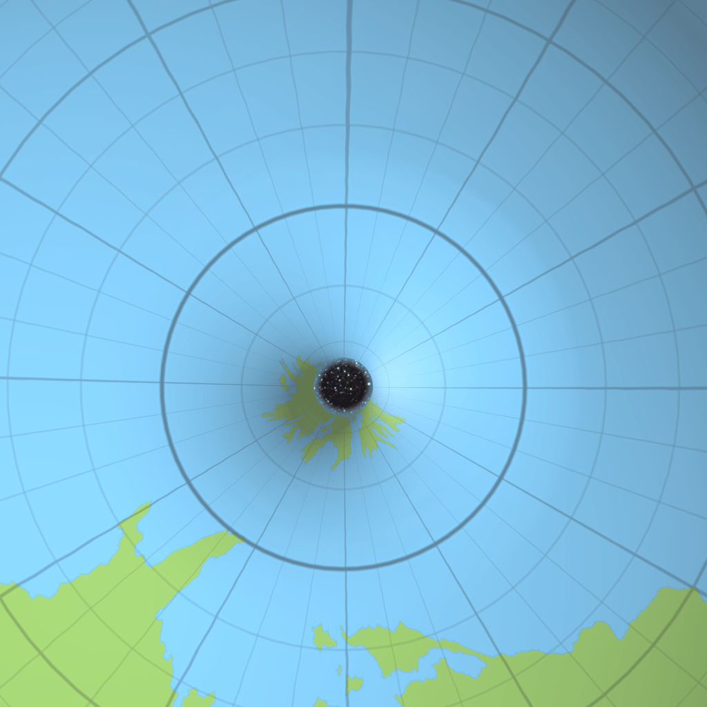 Looking straight down through the northern polar opening