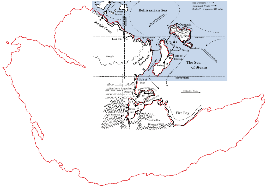 Dragon 155 and 158 maps with Master Set Davania outline overlaid in red