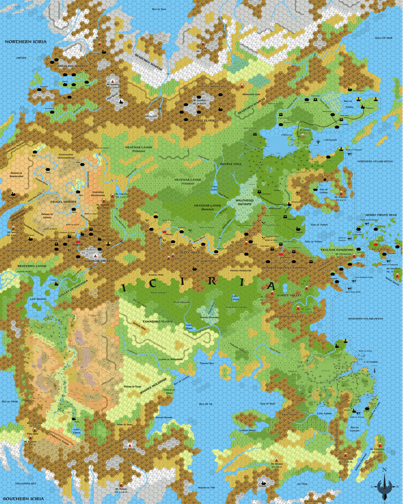 Updated map of Iciria, with HWR series 8 mile per hex maps placed