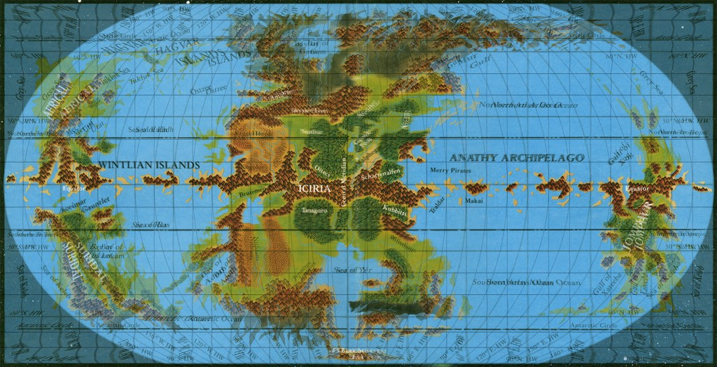 Equirectangular world map on top of pseudo-Robinson world map; note how the grid has been matched along the equator and central meridian