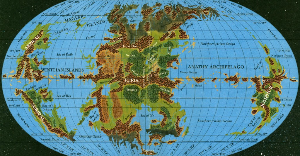 The Hollow World Set Hollow World map with extra graticule lines added