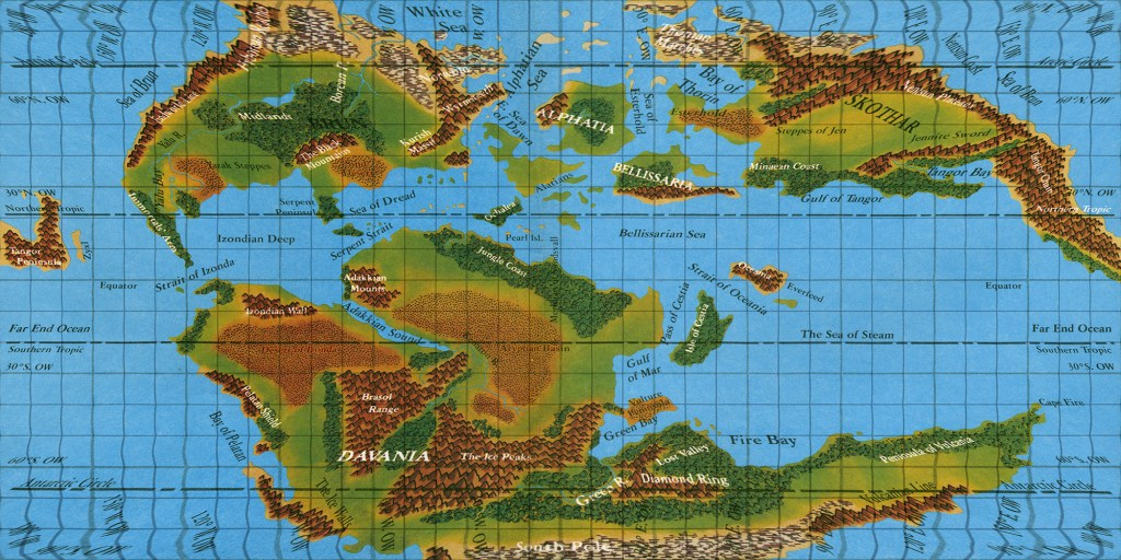 Hollow World Set Outer World map in Equirectangular projection