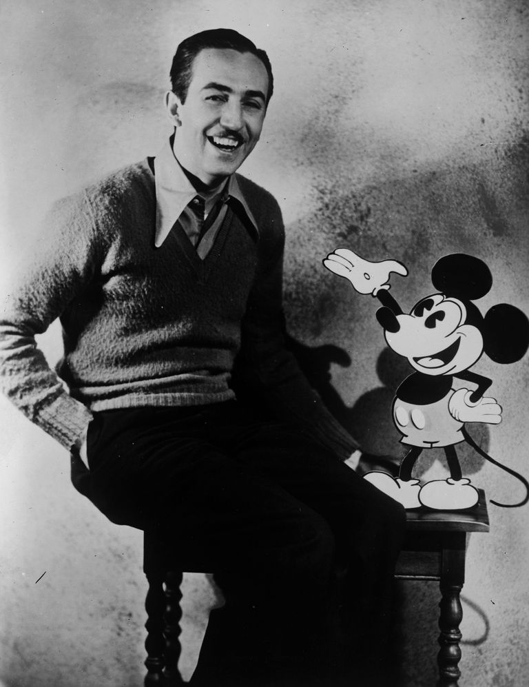 Walt Disney   Cartoonist  Innovator  and Entrepreneur Picture of Walt Disney with Mickey Mouse