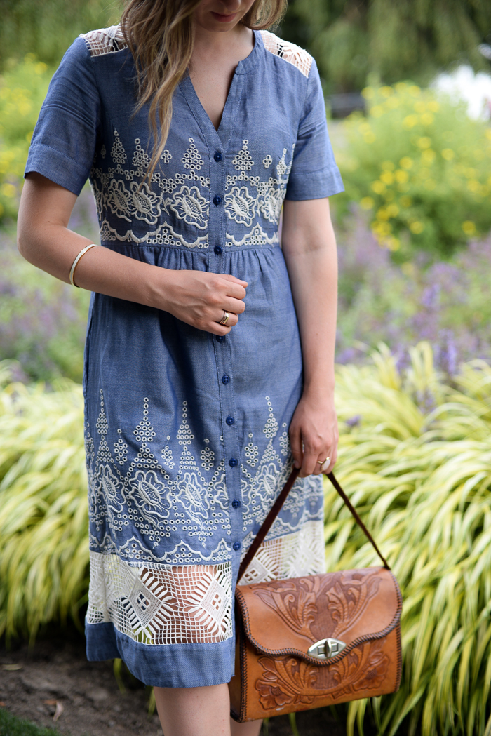 Anthropologie lace and chambray dress