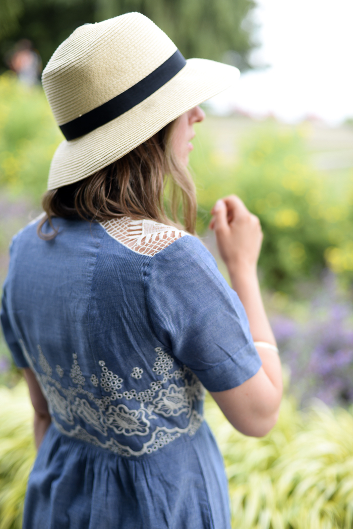 Anthropologie lace and denim dress