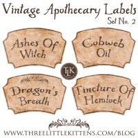 31 Days of Halloween Digital Goodies - Vintage Apothecary Labels Set 2